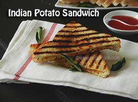 Aloo Masala Sandwich Or Indian Style Potato Sandwich
