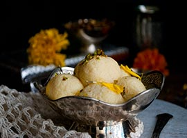 Kesari Bhog Or Kesar/Saffron Flavored Rosogolla/Cottage Cheese Balls