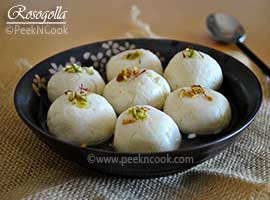 Rosogolla Or Soft Paneer Dumpling Cooked In Sugar Syrup