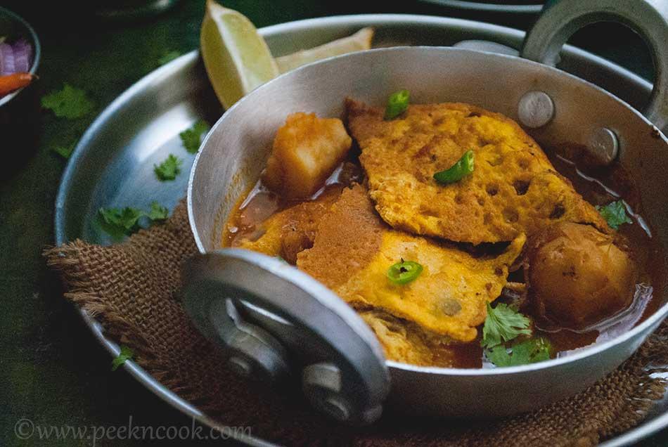 Egg Omelette Curry Or Dimer Bowrar Jhol