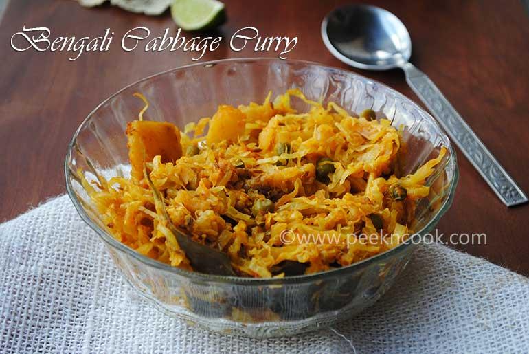 Bandhakopir Dalna Or Torkari Or Bengali Cabbage with Potato & Peas Curry