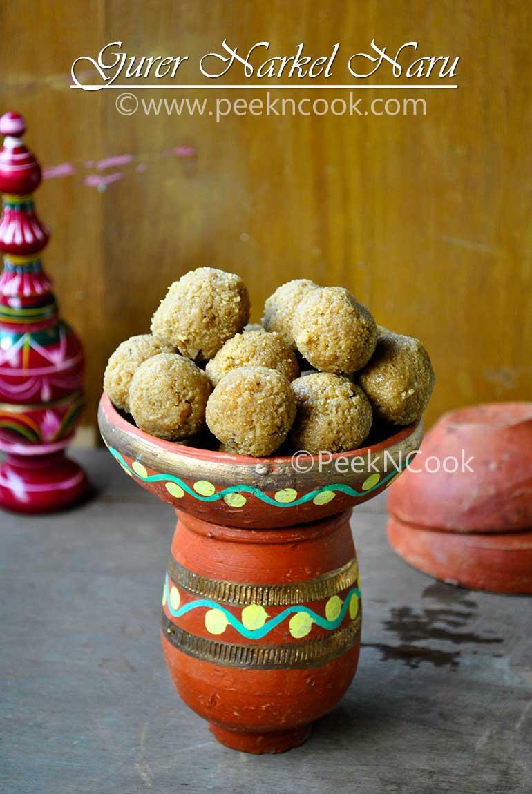 Gurer Narkel Naru Or Bengali  Coconut Laddu