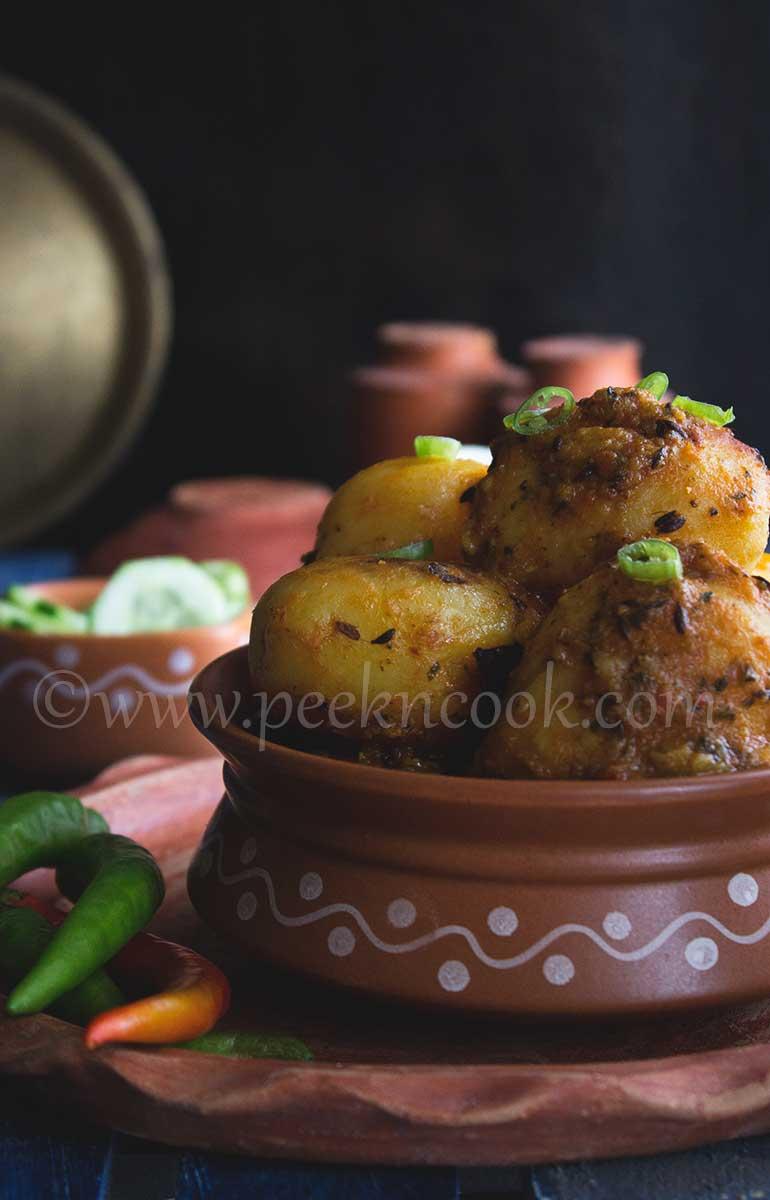 No Onion Garlic Hinger Aloor Dom or Baby Potato Curry
