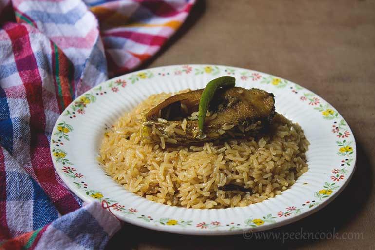 Elish Pulao/Bengali Rice Pilaf With Hilsha Fish