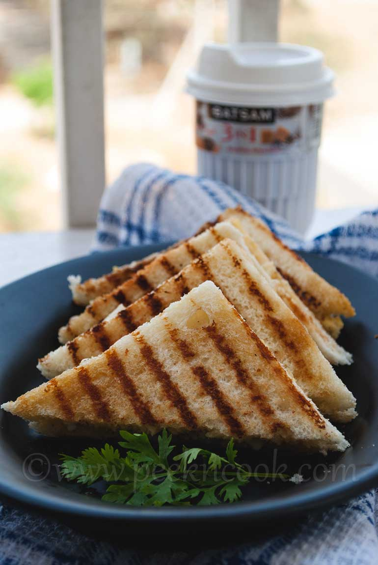 Indian Style Creamy Grilled Egg Sandwich