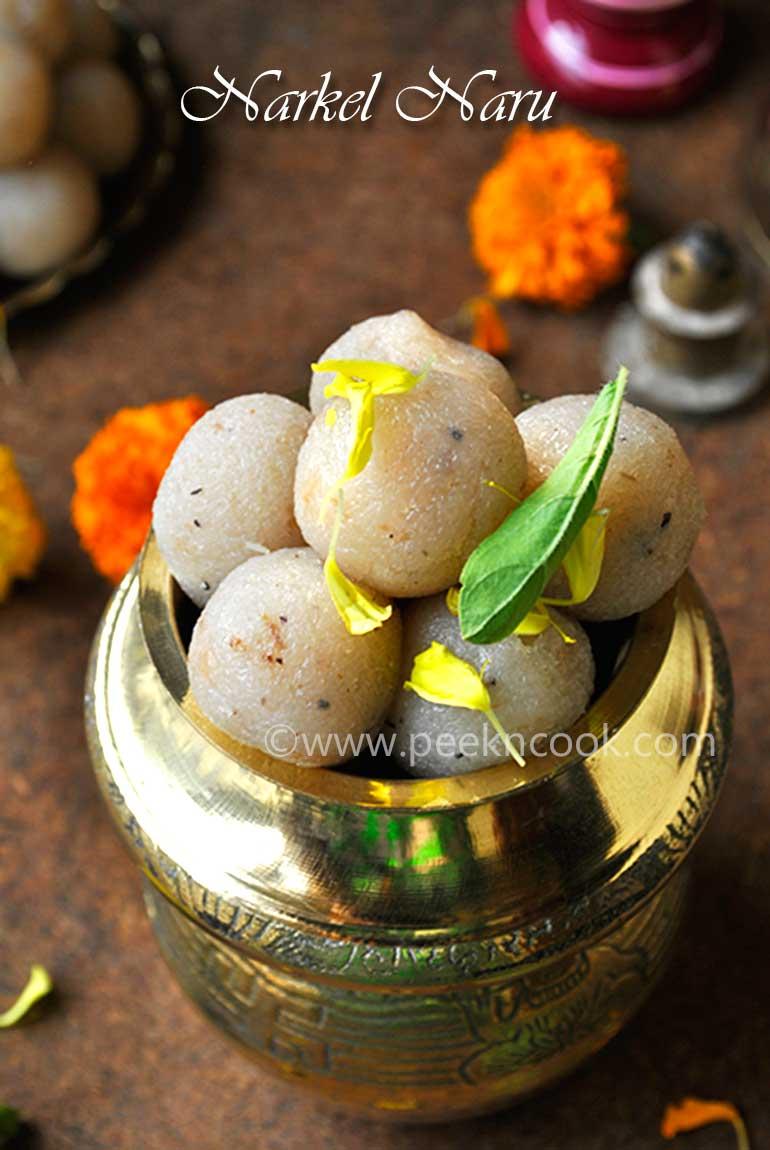 Narkel Naru Or Indian Coconut Confection with Sugar